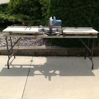 SLIDING COMPOUND MITER SAW, BENCH SAW AND METAL WAGON