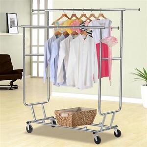 Double Rail Commercial Salesman Clothing Garment Rolling Collapsible Rack Hanger
