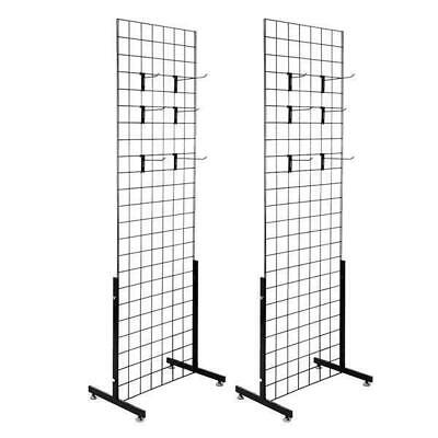 2pcs Display Grid Rack Metal Panel Wall Stand Retail Store Art Organizer Whook