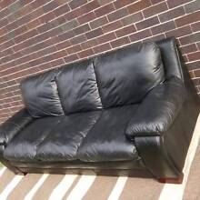 Black Genuine Leather Lounge Couch Sofa & Armchair Set Coogee Eastern Suburbs Preview