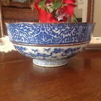Large Japanese Transfer Ware Bowl c1910