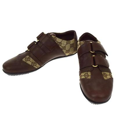 GUCCI sneaker shoes GG pattern brown canvas leather EUR36 US5