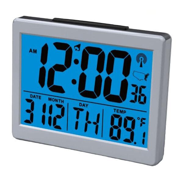 Large LCD Display Atomic Alarm Clock, Low Vision, Desk Clock, Travel, Back Lit