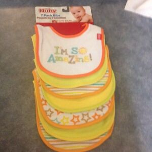 13 BNWT baby bibs & brand new pacifier (6-18 mo size)