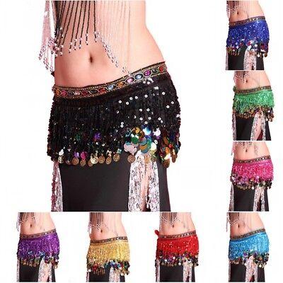Women Belly Dance Hip Skirt Scarf Wrap Belt W/Coins Sequin Tassel Hipscarf - Coin Belt