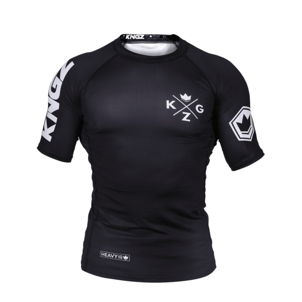 Kingz Ranked V3 Rash Guard Short Sleeve Black BJJ No-Gi Jiu Jitsu IBJJF