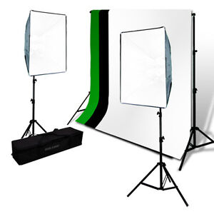 Chroma-Key-Screen-Green-and-Black-White-Muslin-Backdrop-SoftBox-Photo-Lights-Kit