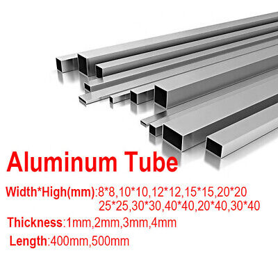 6063 Aluminum Alloy Square Tube 8*8 - 40*40mm Metal Pipe 1 2 3mm Thick 400 500mm 3 Mm Thick Tube