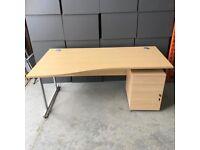 Oak Wave Left Hand Desk with Pedestal