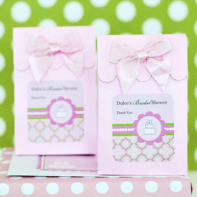 144 Personalized Pink Cake Bridal Shower Wedding Candy Boxes Bags Favors - Personalized Cake Boxes