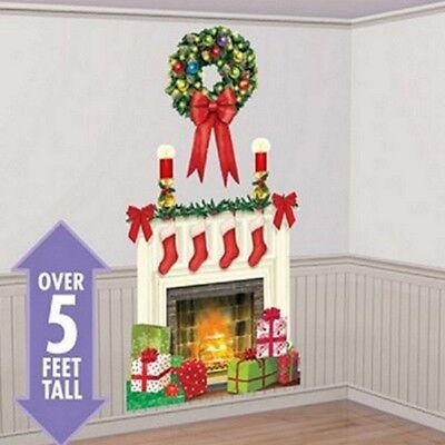 CHRISTMAS HOLIDAY HEARTH SCENE SETTER FIREPLACE WREATH STOCKINGS PRESENTS PARTY
