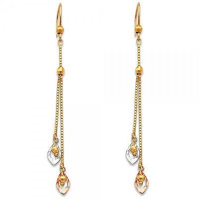 14K Yellow White Rose Gold 3 Tri Color Pear Teardrop Dangle Hanging Earrings
