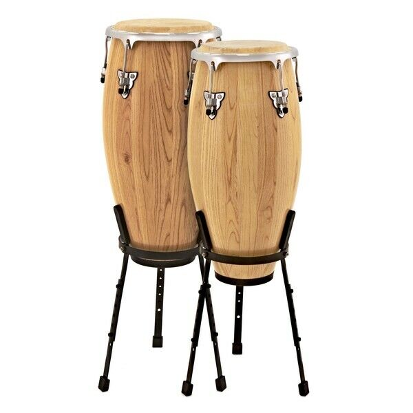 Conga Drums 10'' + 11'' Set with Stands by Gear4music