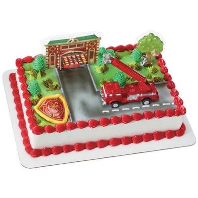 Fire Truck and Station Cake Topper - Fire Truck Cake