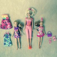 Barbie and 2 chelsea dolls
