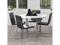 Round frosted glass extendable dining table - nearly new