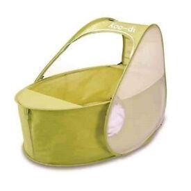 Koo-di ultra light pop up baby travel cot bassinette 0-6 months lime green