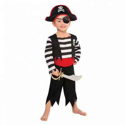 Gr. 104 110 Piratenhut Augenklappe Säbel Karneval Jungen neu (Karnevalskostüme Piraten)