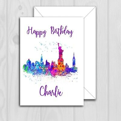 PERSONALISED NEW YORK SKYLINE BIRTHDAY CARD WATERCOLOUR 5X7 INCHES 264