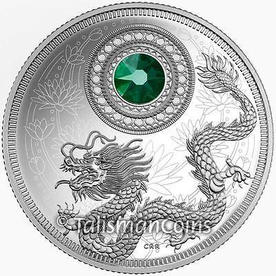 Canada 2016 Dragon Birthstones May Emerald $5 Silver Proof w Swarovski -