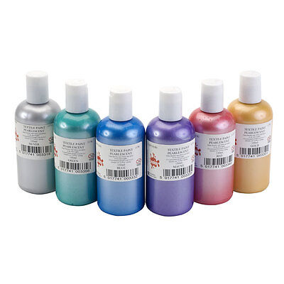 SET 6 x 150ml PEARLESCENT COLOUR FABRIC TEXTILE PAINTS METALLIC PEARL FINISH DYE