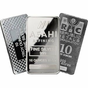 10 oz Silver Bar - Cast or Minted - Our Choice Mint