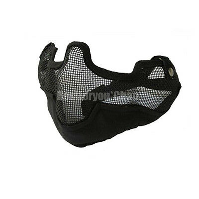 Airsoft Tactical Steel Wire Mesh Half Face Protective Mask with Ears Cover