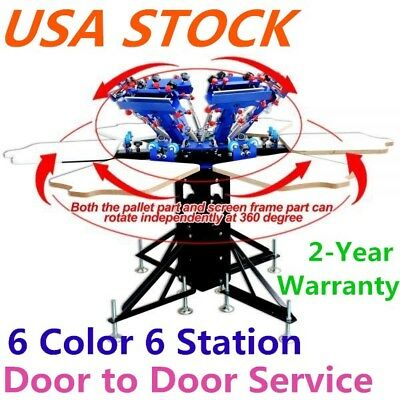 Usa 6 Color 6 Station Screen Printing Machine Micro-adjust T-shirt Printer