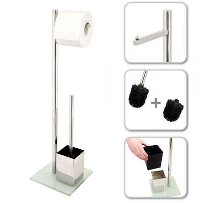WC-Ständer, WC-Garnitur, WC-Bürste, Edelstahl rostfrei, Sicherheitsglas, weiß
