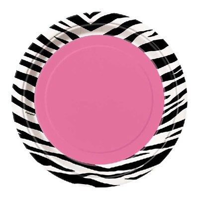 Paper Plates Girls Birthday Party Tableware Supplies Pink (Zebra Party Supplies)