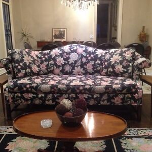 Like New Chippendale Sofa in Floral Chince
