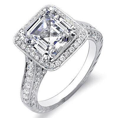3.22 Ct. Asscher Cut w/ Round Cut One Row Halo Diamond Ring G,VS1 GIA Platinum