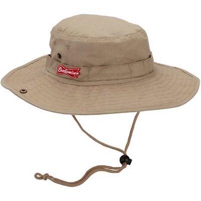 Budweiser Bucket Boonie Hat Khaki Twill Golf Fishing Cap Beach Frat Party