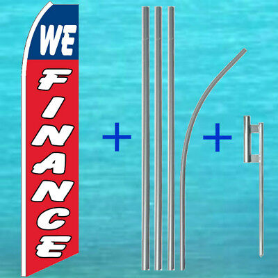 We Finance Flutter Flag Pole Mount Kit Tall Wind Feather Swooper Banner Sign
