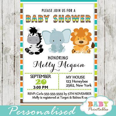 Safari Jungle Theme Baby Shower Invitation for Boys - Printable Digital - Jungle Theme For Baby Shower
