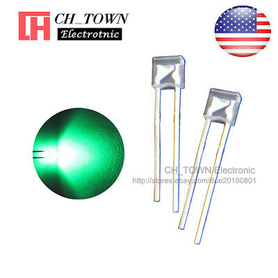 100pcs 2x3x4mm Water Clear Green Light Rectangle Rectangular Square Led Diodes