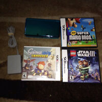 Blue Aqua 3DS System with Charger & 3 Games