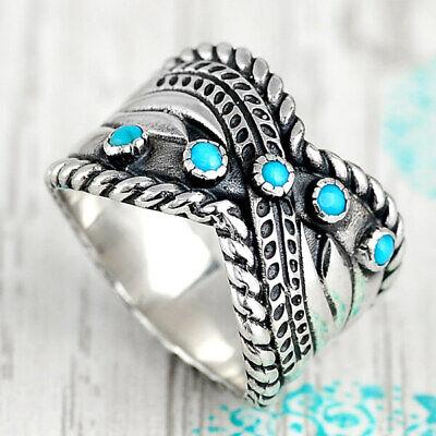 Sterling Silver Turquoise Ring for Women Boho Bohemian Blue Stone Criss Cross