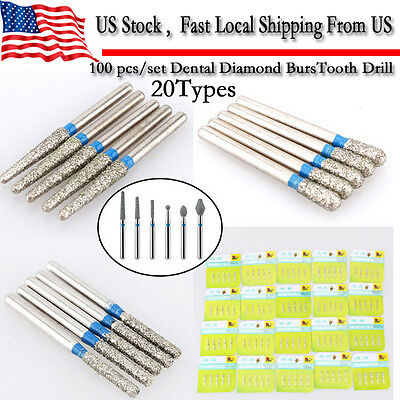 100pcs Mani Diamond Bur Tooth Drill For Dental High Speed Handpiece 20 Types