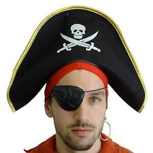 MENS ADULT PIRATE FANCY DRESS PIRATE HAT BLACK & GOLD COSTUME HAT CAP