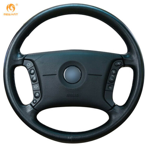 DIY Black Artificial Leather Steering Wheel Cover Wrap for BMW E46 325i Popular