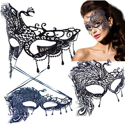 Peacock Victorian Venetian Masquerade Black Lace Elegant Eye Mask Costume Chic - Masquerade Peacock Masks