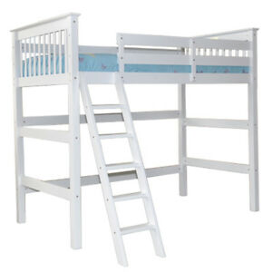 Twin High Loft Bed White For Sale