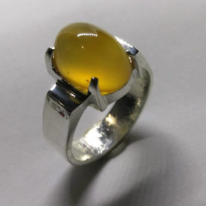 Men's Yellow Agate Carnelian Sterling silver925 ring Aqeeq