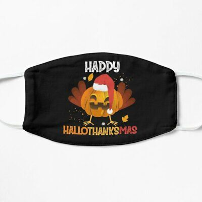 Happy Hallothanksmas Funny Turkey Pumpkin Gift Idea Face Mask Free Shipping