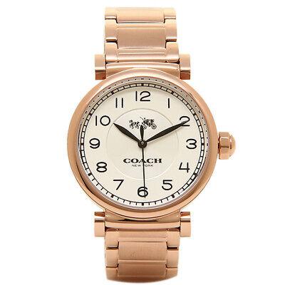 COACH Women's Madison Fashion 32mm White/Rose Gold Watch