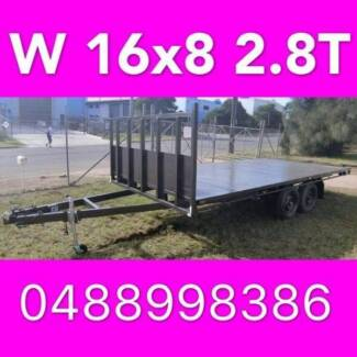 16x8 table top tandem trailer flatbed extra heavy duty 2800kg ATM