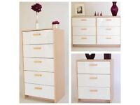 Brand new light oak/white gloss set of chest of drawers