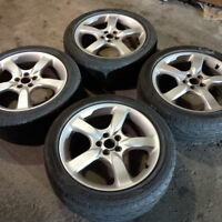 "17"" Subaru Rims and tires -5x100- 1 tire with bubble - 205/50R17"