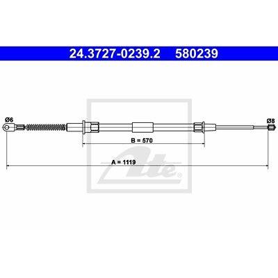 ORIGINAL ATE Handbremsseil Bremsseil BMW 7er E38 Bj.94-01